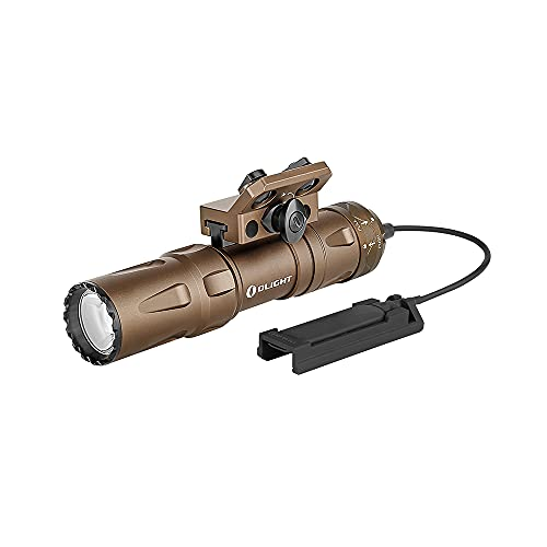 OLIGHT Odin Mini 1250 Lumens Ultra Compact Rechargeable Mlok Mount Tactical Flashlight, Removable Slide Rail Mount and Remote Switch, Uses 18500 Battery 240 Meters Beam Distance, Mount Included, Tan