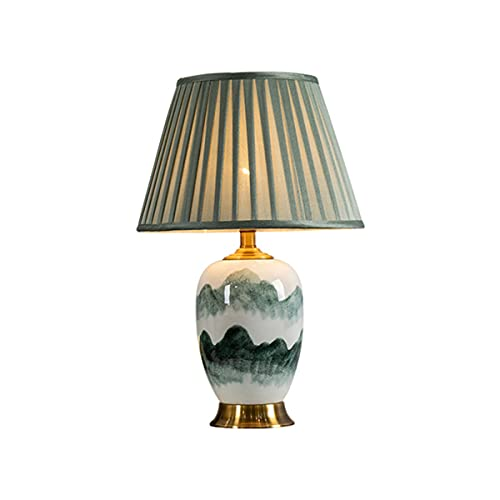 Lámpara De Mesa LED Retro 21.6'Hermosa Lámpara De Mesa De Cerámica, Lámpara De Mesa De Noche Lámpara para Sala De Estar, Dormitorio, Mesita De Noche,Verde