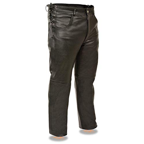 Milwaukee Leather SH1987 Men's Black Leather Deep Pocket Over Pants with Side Laces - 34