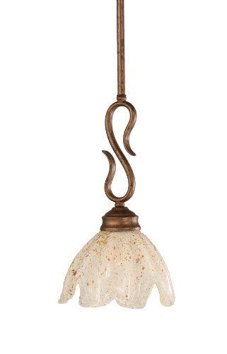 Toltec Lighting 20-BRZ-755 Swan Mini-Pendant Light Bronze Finish with Gold Ice Glass, 7-Inch