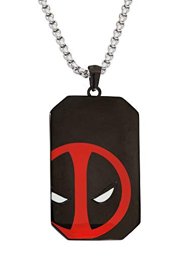 "Marvel Comics Dead Pool Jewelry, Stainless Steel Dog Tag Pendant Necklace, 22"" Box Chain"