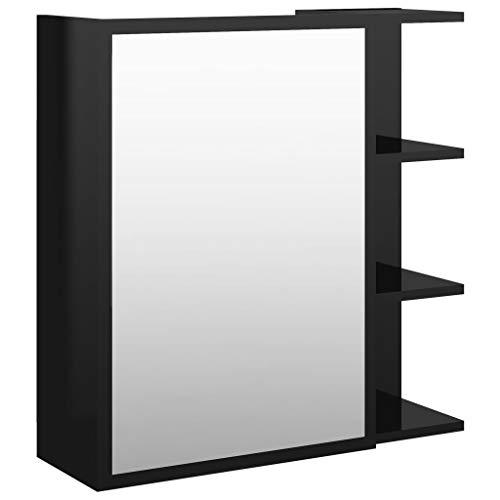 vidaXL Bad Spiegelschrank Badspiegel Badschrank Wandschrank Spiegel Wandspiegel Badezimmerschrank Schrank Hochglanz-Schwarz 62,5x20,5x64 Spanplatte