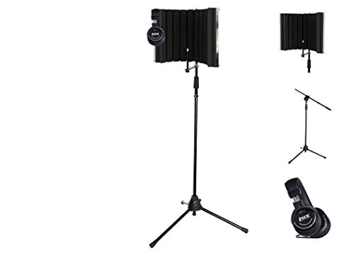 LyxPro VRI-30 Portable Acoustic Isolation Instrument Shield, Sound Absorbing, Reflection Panel with Portable & Foldable Strong Durable TMS-1 Adjustable Microphone Stand Boom Arm and Studio Heaphones