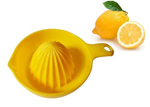 AMUONTY Grips Citrus Manual Juicer Lemon Squeezer Citrus Orange Hand Juicer Reamer with Handle and Pour Spout Yellow