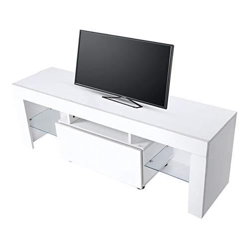 Estink Fernsehtisch für Fernseher bis 60 Zoll, Fernsehschrank, TV-Lowboard mit LED-Beleuchtung, 130 x 35 x 45 cm, Weiß, mit Fernbedienung