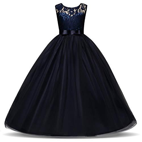 TTYAOVO Vestido de Fiesta de Boda de Encaje Bordado sin Mangas para Nias Talla120 3-4 Aos Azul Morado