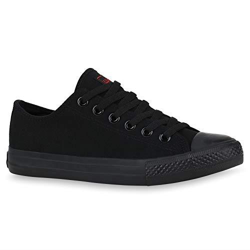 stiefelparadies Damen Sneakers Sportschuhe Freizeit Stoffschuhe Gr. 36-41 172630 Schwarz Ambler 43 Flandell