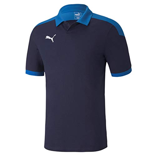 PUMA Erwachsene teamFINAL 21 Sideline Polo Poloshirt, Peacoat-Electric Blue Lemonade, XXL