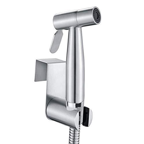 Doccetta bidet a mano, in acciaio inox di alta qualità, Set completo doccia bidet per WC, ottima per lavare i pannolini in tessuto,Argento(3 pezzi)