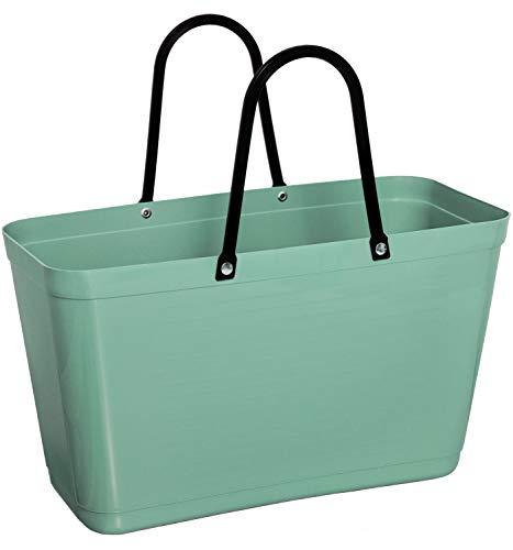 Hinza Green Plastic Kunststofftasche Tasche groß 15 L grün mit Henkel 41,5x44x18 cm biobasierter Kunststoff Tragetasche Shopper Shoppingbag Einkaufstasche Einkaufskorb BPA-frei Swedish Design