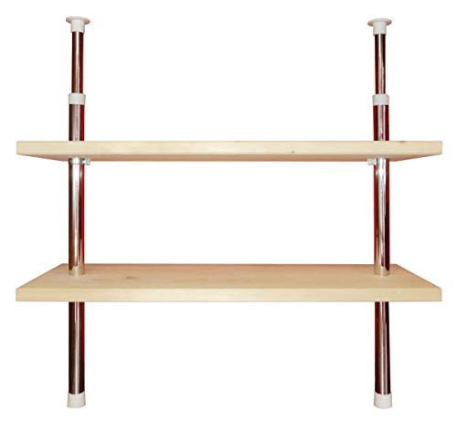 Teleskopregal Küchenregal Regal 2 Ablageböden Holz individuell höhenverstellbar - befestigen ohne Bohren (Fichte)