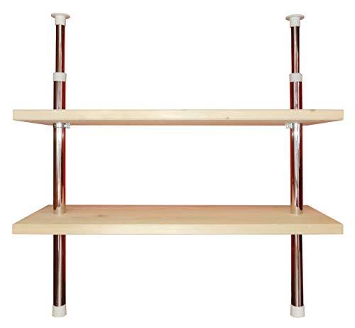 Teleskopregal Küchenregal Regal 2 Ablageböden Holz individuell höhenverstellbar - befestigen ohne...
