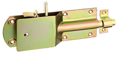 GAH-Alberts 124182 Sicherheits-Stallriegel | mit breitem flachen Griff | galvanisch gelb verzinkt | Platte 200 x 70 mm | Bolzen-Ø 15 mm | Schlaufenbreite 20 mm