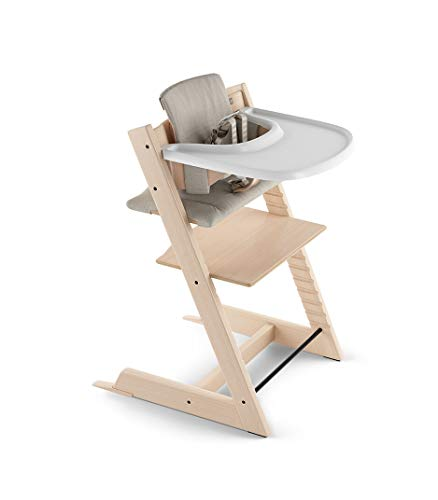 Tripp Trapp by Stokke Adjustable Natural Baby High Chair (Includes Baby Seat with Harness, Timeless Grey Cushion and White Tray)