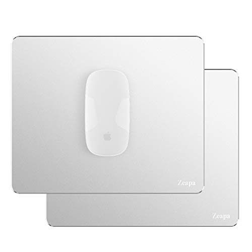 Ultra-Quiet Sleek No Scratchy Noise Ultra-Thin Non-Slip Hard Silver Metal Aluminum Mouse Pads for Apple Magic, MacBook, Rubber Bottom, Clean and Sanitize Easily, Waterproof, 8.7x7.1inch, 2-Pack