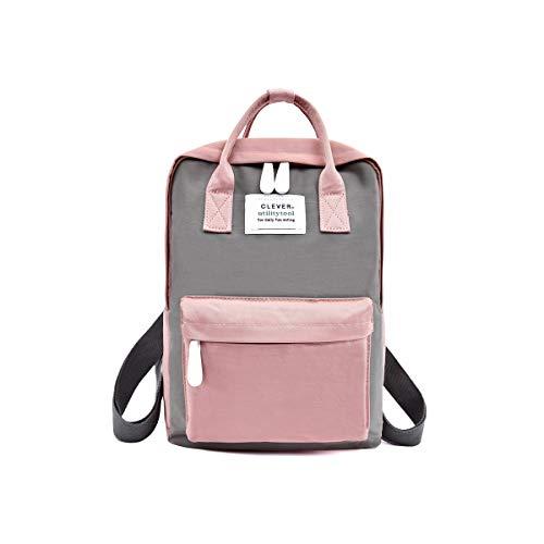 NICOLE & DORIS Rucksack für Damen Handtaschen Lässiger wasserdichte Rucksack Mädchen Schulrucksack für Laptop Grau und Rosa