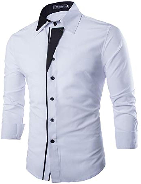 Men's Work Business Basic Cotton Shirt  color Block Long Sleeve