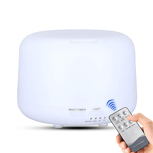 Irfora Humidificador Aromaterapia Ultrasónico con Control Remoto, Difusor de Aromas con 7 Colores de LED 300ml,Silencio,para Dormitorio de Oficina de Viaje en casa (Blanco)