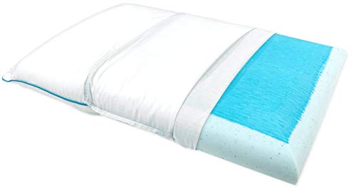 Bluewave Bedding Ultra Slim Max Cool Gel Memory Foam Pillow for Stomach and Back Sleepers - Thin and...