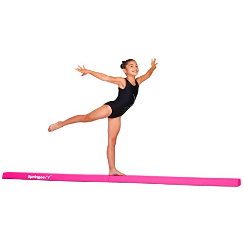 Springee 9ft Balance Beam - Extra Firm - Vinyl Folding Gymnastics Beam for Home - Pink
