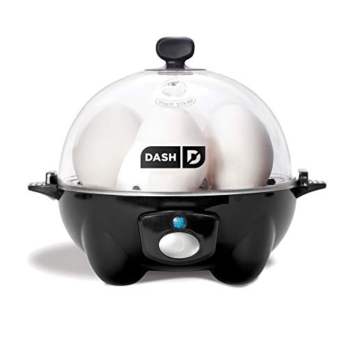 DASH Rapid 6 Capacity Electric Cooker for Hard Boiled, Poached, Scrambled Eggs, or Omelets with Auto Shut Off Feature, One Size, Black