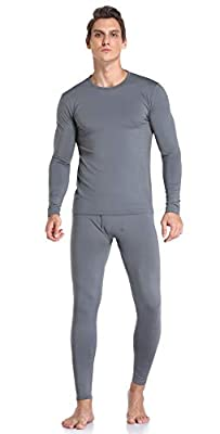 Thermal Underwear for Men Ultra Soft, Long Johns Base Layer Fleece Lined, Active Mens Thermal Underwear Set with Top & Bottom Grey