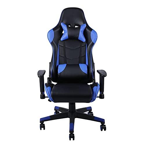 LMJI Silla de Oficina con Respaldo Alto para computadora y reposacabezas con Soporte Lumbar para Juegos, Azul