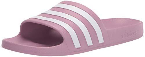 adidas Women's Adilette Aqua Slide Sandal, Cherry Metallic/White/Cherry Metallic, 7