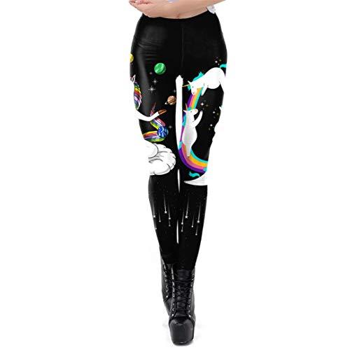 FHIORCK Unicornio Polainas Mujeres Entrenamiento Leggins Pantalones impresión de la Historieta...