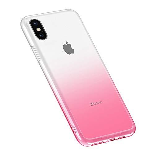 Oihxse Moda Lindo Cristal Case Compatible con Samsung Galaxy A7 2018 Funda Silicona Gradiente de Color TPU Suave Carcasa Ultra-Fina Transparente Protectora Flexible Caso-Rosa Blanca