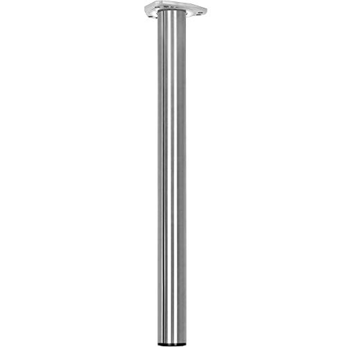 Gedotec Möbelfüß Edelstahl Tischbeine verstellbar +390 mm Tischfuß Metall - FORCE | Stüz-Bein Höhe 770-1100 mm | Schwerlast-Stützfuß mit Rund-Rohr-Ø 60 mm | 1 Stück - Teleskop-Fuß silber mit Schrauben