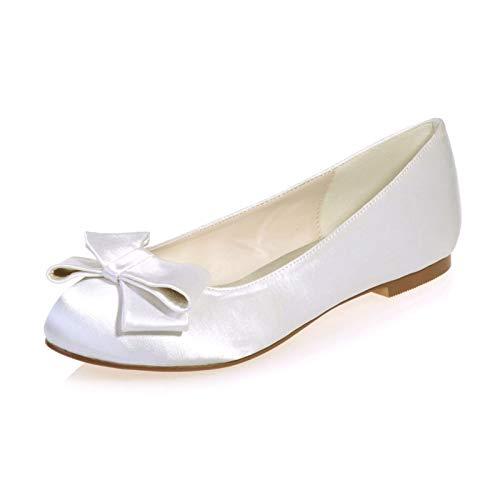 LGYKUMEG Mujer Zapatos de Boda Tallas Grandes Tacón Plano Dedo Redondo Confort...