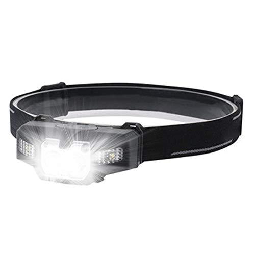 Linterna Frontal LED Recargable - Linterna Cabeza USB Recargable Haz Ajustable de 45 Grados 4000LM 6 Modos Sensor de movimiento IPX4 Impermeable para Camping, Excursión, Pesca, Carrera, Ciclismo