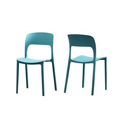 Christopher Knight Home Funnel Indoor Plastic Chair (Set of 2), Teal