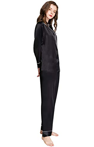 Damen Seide Pyjama Set Schlafanzug Schwarz XS