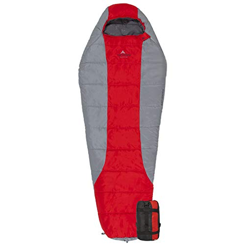"""TETON Sports Tracker 5 Lightweight Mummy Sleeping Bag; Great for Hiking, Backpacking and Camping; Free Compression Sack Red/Grey, Adult - 87"""" x 34"""" x 22"""""""
