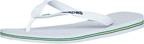 Havaianas Brasil Logo Unisex Flip Flops White 43/44 Brazil (US Men's 10/11, Women's 12/13) M