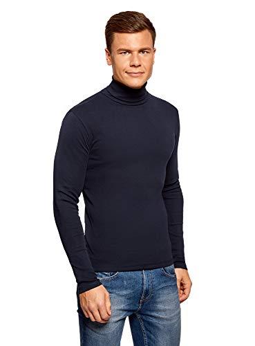 oodji Ultra Hombre Suéter de Cuello Alto Básico de Algodón, Azul, ES 44 / XS