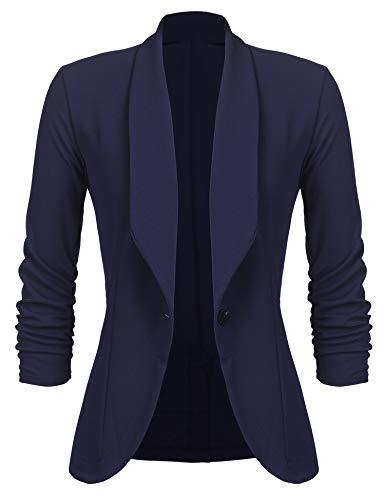 Unibelle Damen Blazer Cardigan Dünn 3/4 Längere Elegant Leicht Bolero Jacke Blazer Slim Fit Anzug Trenchcoat , Aa-navyblau, 40(Herstellergröße:L)