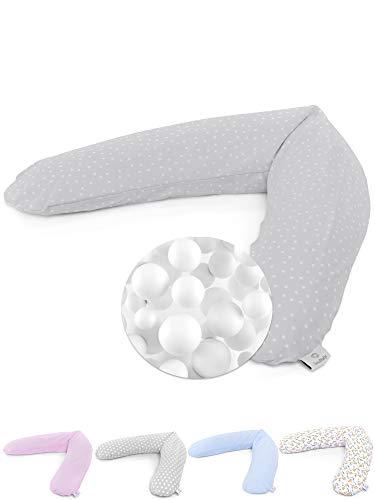 SOULBABY  Stillkissen Mikroperlen XXL 190cm groß - bequem schlafen mit dem Schwangerschaftskissen - besonders leise EPS Perlen Füllung - schadstofffrei ökotex Baumwolle (EMMA grau mit Punkte)