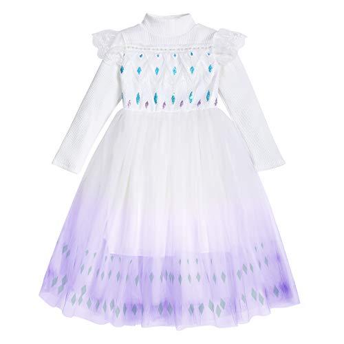 IBAKOM Disfraz infantil de princesa Elsa de la reina de las nieves, para carnaval, Halloween, cosplay, fiesta, cumpleaos, boda, lentejuelas Blanco y lila. 7-8 Aos