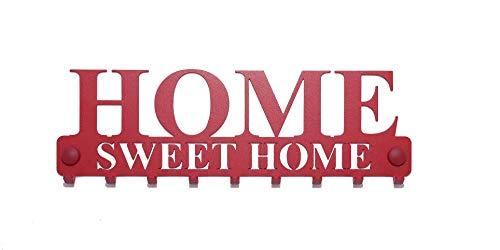 """tradeX Pannello appendichiavi da parete """"Home Sweet Home"""" in acciaio color rosso con 9 ganci – Appendiabiti da parete per riporre giacche, chiavi o asciugamani – include viti per montaggio."""