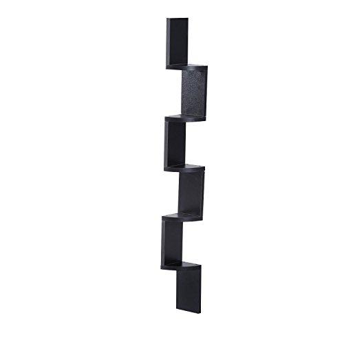 HOMCOM Moderna Libreria da Parete con Mensole in Legno MDF 12 x 12 x 120cm Nero