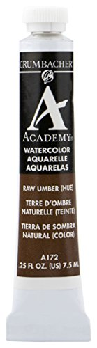 Grumbacher Academy Watercolor Paint, 7.5ml/0.25 Ounce, Raw Umber Hue (A172)