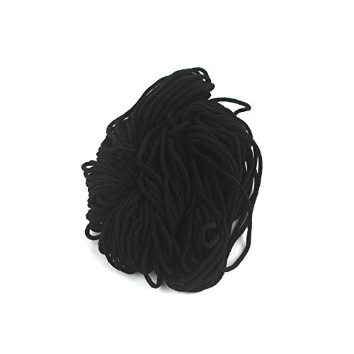 1/8 inch Round Elastic Cord Heavy Strength Earloop String Strap Elastic Bands for DIY Sewing (Black, 50yds)