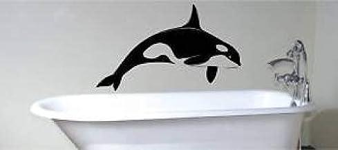 ZCZZ enorme moordenaar walvis muur kunst sticker vinyl badkamer kinderen - zwart
