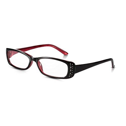 Read Optics Edelstein/Strass Lesebrille für Damen: Ovaler schwarz-roter Rahmen aus leichtem und stabilem Polykarbonat. Klare Premium Gläser in den Sehstärken +1,0 +1,5 +2,0 +2,5 +3,0 +3,5 Dioptrien