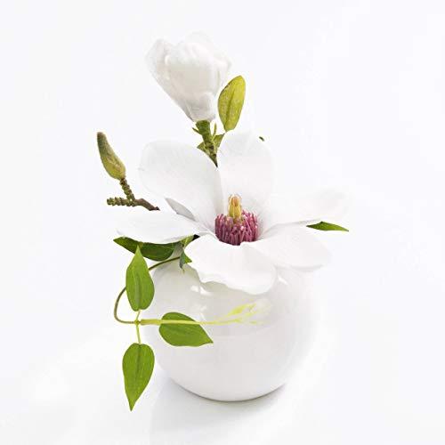 artplants.de Künstliche Magnolie FEMI im Keramiktopf, weiß, 20cm, Ø 17cm - Kunstblume - künstliche Blumen