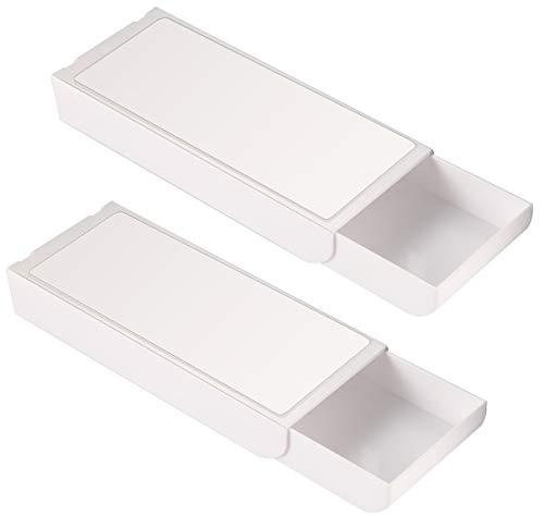 Aufbewahrungsbox unter dem Schreibtisch wie Schubladen, 2 Stück selbstklebende Aufbewahrungsboxen, Stifteetui für Schminktisch, Zuhause, Büro, Schule, Nähtisch, weiß