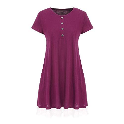 URIBAKY Vestido Suelto De Verano para Mujer Color SóLido Y Dobladillo Plisado con Estampado Floral Vestido Largo Estilo Casual Falda Recta con Cuello Redondo Y Manga Corta